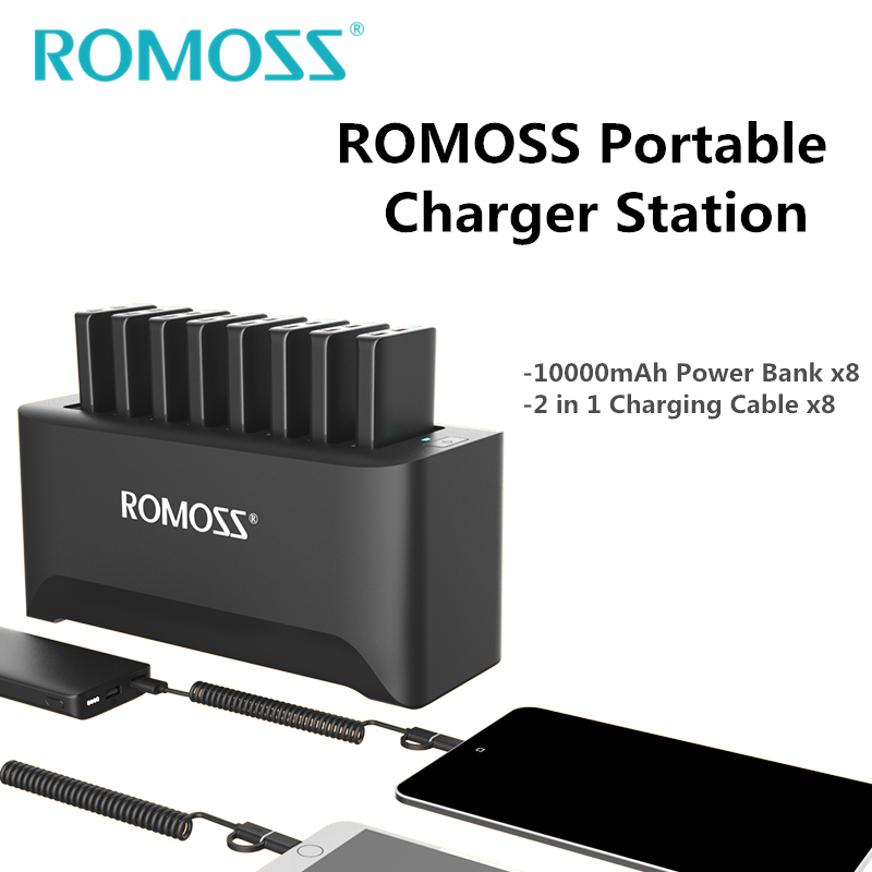 New ROMOSS Powerful Charger Station for Family and Business 8PCS 10000mAh Power Bank + 8PCS 2 in 1 Charging Cables + Ship by UPS