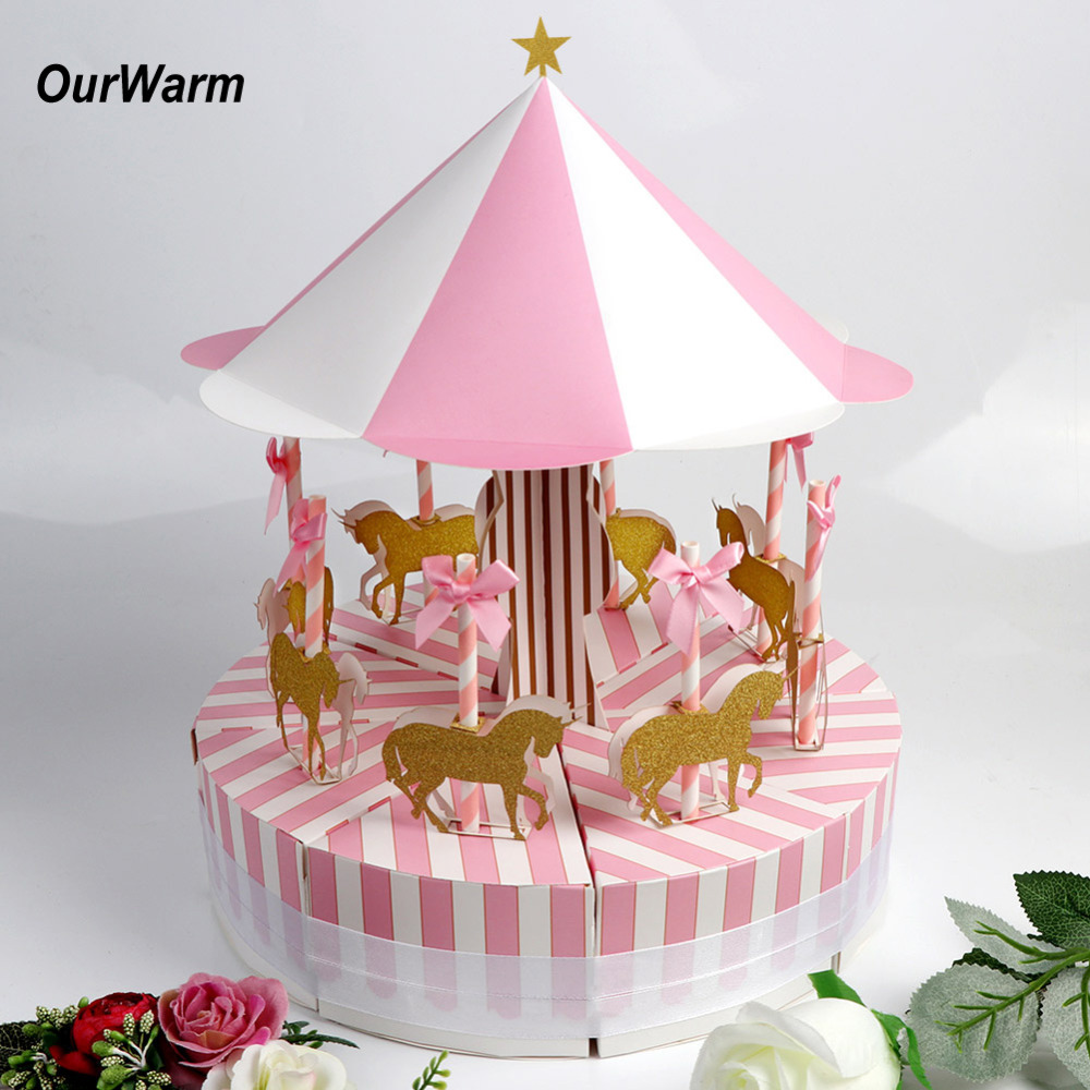 Ourwarm Paper Candy Box For Unicorn Party Carousel Paper