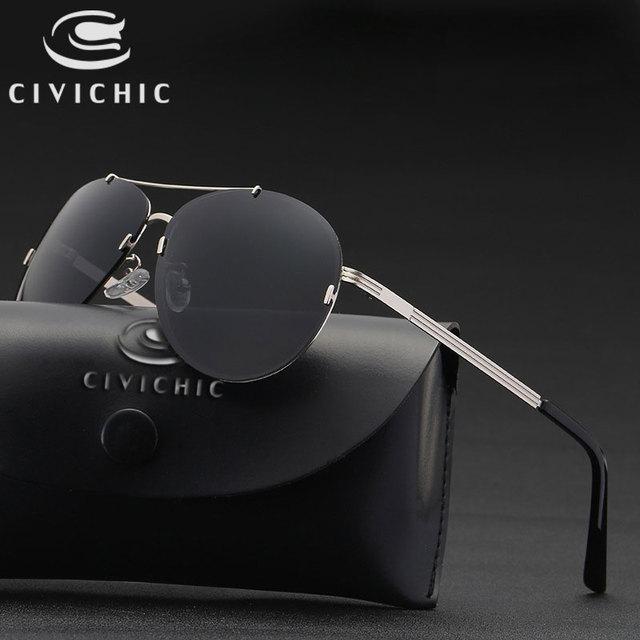 669e53072e4 CIVICHIC 2018 HD lunettes de soleil pilotes polarisées hommes femmes sans  monture lunettes de conduite classique