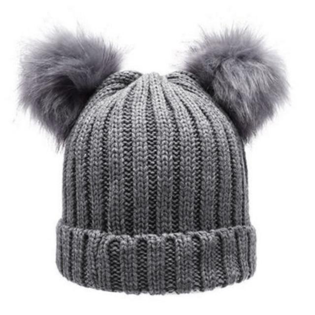 ea4215f2a4d Women s Winter Chunky Knit Double Pom Pom Beanie Faux Fur Hat Women Wool  Knit Beanie Bobble
