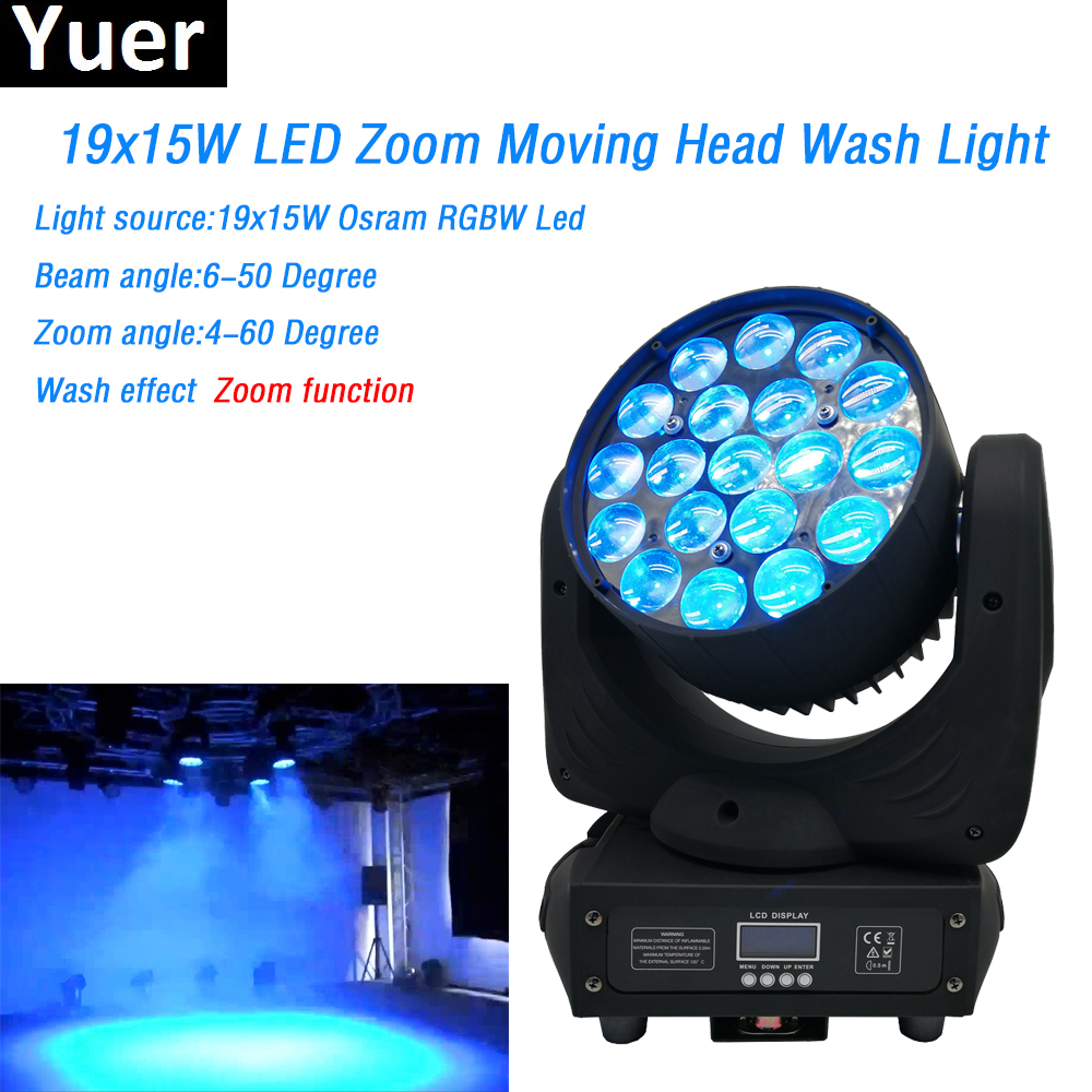 19x15W Led RGBW 4in1 Wash/Zoom Moving Head Wash Light O-sram lamp DMX512 Professional Stage Dj Disco Lighting Shows Equipments19x15W Led RGBW 4in1 Wash/Zoom Moving Head Wash Light O-sram lamp DMX512 Professional Stage Dj Disco Lighting Shows Equipments