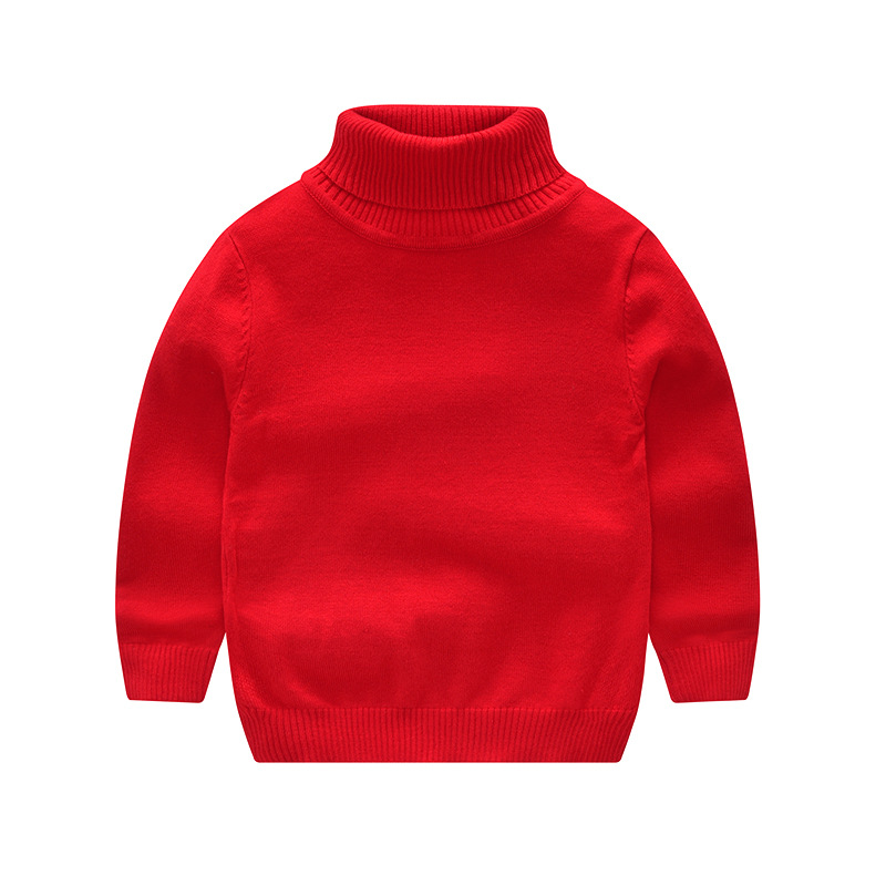Vinnytido Children Sweater For Boys Pure Cotton Turtleneck New Year Sweaters Knitted Pullover Children Sweater slim fit cable knit turtleneck sweater