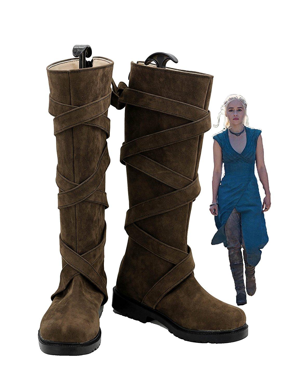 Daenerys Targaryen Brown Shoes Cosplay Game of Thrones Daenerys Targaryen Cosplay Boots Brown Shoes Custom Made