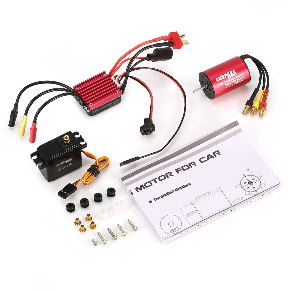 SURPASSHOBBY S2435 4500KV <font><b>Brushless</b></font> <font><b>Motor</b></font> S-25A ESC with 2.2kg Metal <font><b>Gear</b></font> Servo <font><b>Brushless</b></font> Combo Set for 1/16 1/18 <font><b>RC</b></font> Car Truck image