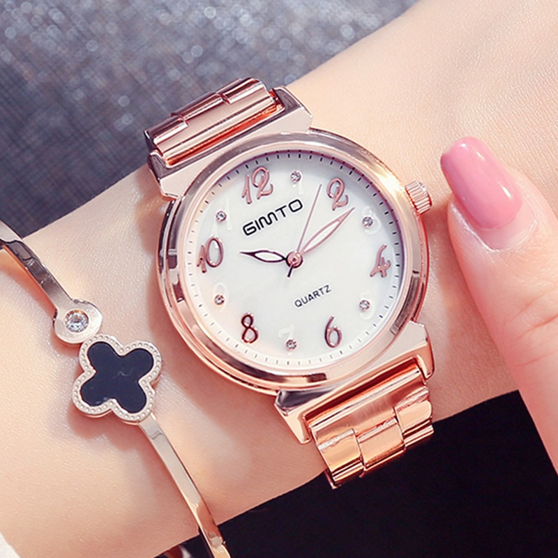GIMTO Brand Luxury Gold Women Watches Steel Crystal Bracelet Ladies Watch Dress Clock Quartz Wristwatch Sport Relogio Feminino women men quartz silver watches onlyou brand luxury ladies dress watch steel wristwatches male female watch date clock 8877