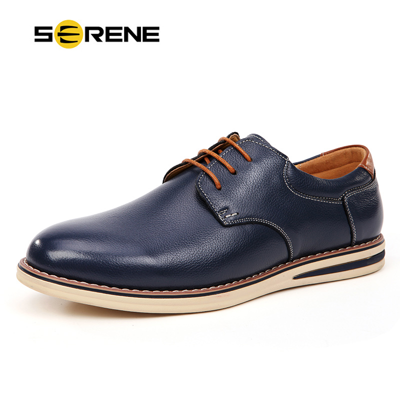 SERENE Mens Shoes Leather Top Quality Shoes Fashion Men Lace-up Casual Shoe Moccasins Business Shoes Sapatos Spring & Autumn high quality men casual shoes fashion lace up air mesh shoe men s 2017 autumn design breathable lightweight walking shoes e62