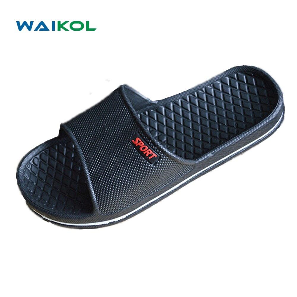 a6073df450 Waikol Mens Sapatos Banheiro Antiderrapante Sandálias Planas Sandálias de Verão  Chinelos Em Casa Sapatos Fechados Sandálias de Praia Casuais