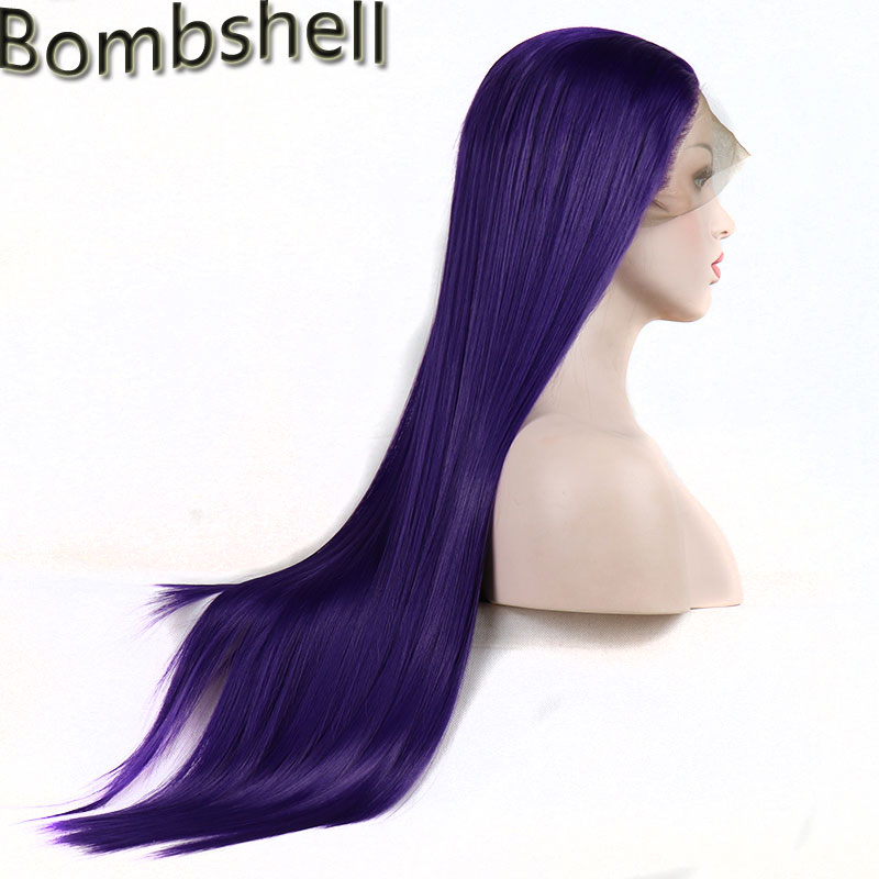 Bombshell Synthetic Lace Front Wig Dark Purple Silky Straight Heart Resistant Fiber Natural Hairline For Black