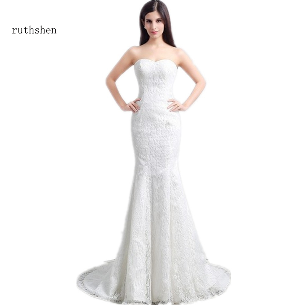 ruthshen 2018 New Lace Wedding Dress Cheap With Bateau Neck Wraps Mermaid Sweep Train Bridal Gowns Chinese Dresses