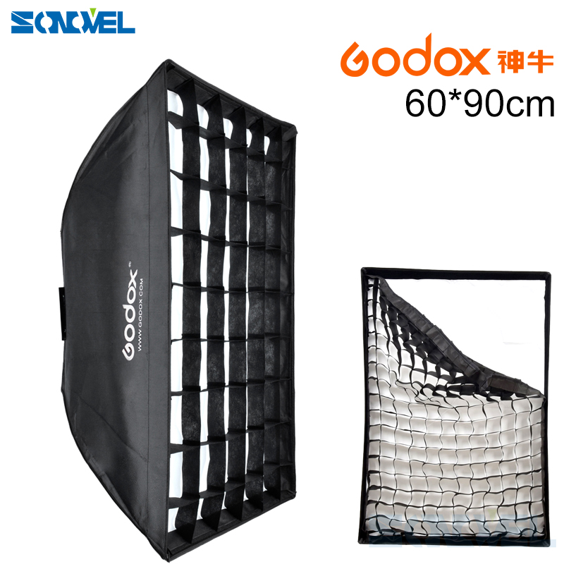 Godox Photography 60 x 90cm 60*90 Umbrella Rectangle Flash Softbox with Grid For SpeedLight Flash