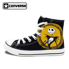 Black Nightmare Before Christmas Jack Skellington Deign Converse All Star Hand Painted Shoes Man Woman Sneakers