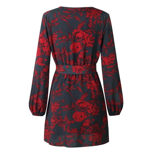 Print Dress 2018 Autumn Lady Sexy Deep V-Neck Flower Dresses longsleeve Print Hem Folds Bohemian Style Belt Mini Beach Dress