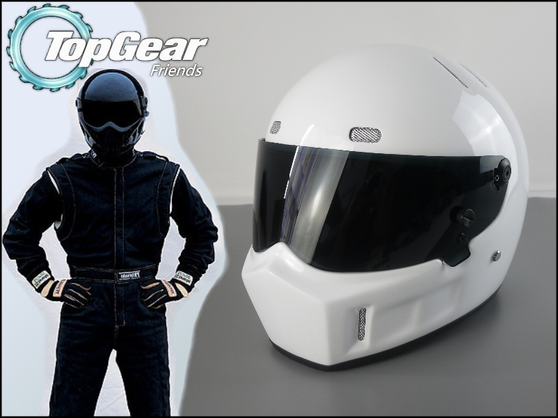 цена на The Stig 1 Helmet Capacete Casco De 2002 2003 White Colour With Black Visor For 1 / 2 Season TopGear Kart / Car / Motorcycle