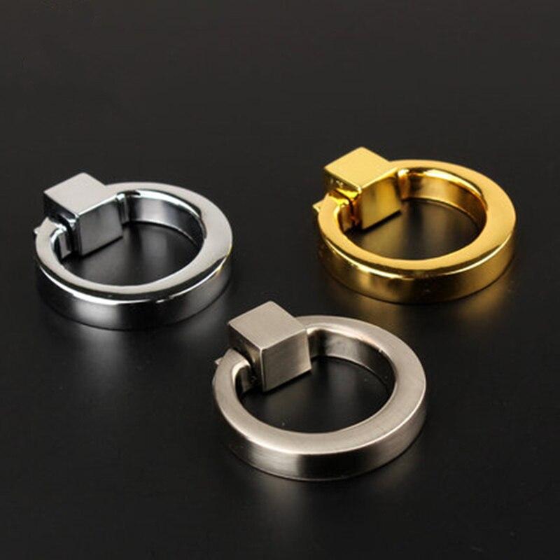 Cheap Annulus Design Handle Drawer Pulls Wardrobe Cupboard Cabinet Handles  Door Metal Ring Pull Furniture Hardware