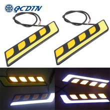 цена на QCDIN Car LED Turn Signal Light Bright Daytime DRL Daytime Running Ultra Bright COB Light Driving Fog Lamp Daytime Running Light