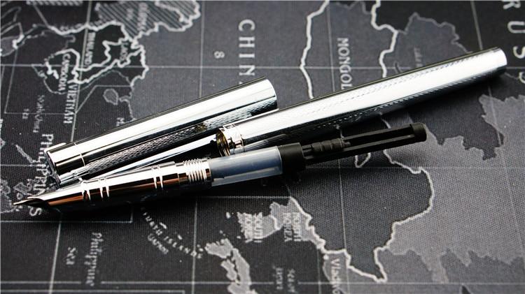 Free Shipping Stationery Jinhao Luxury Metla Gift Pen 0.38mm Extra Fine Nib Fountain Pen  Black Silver Ink Pens Christmas Gift