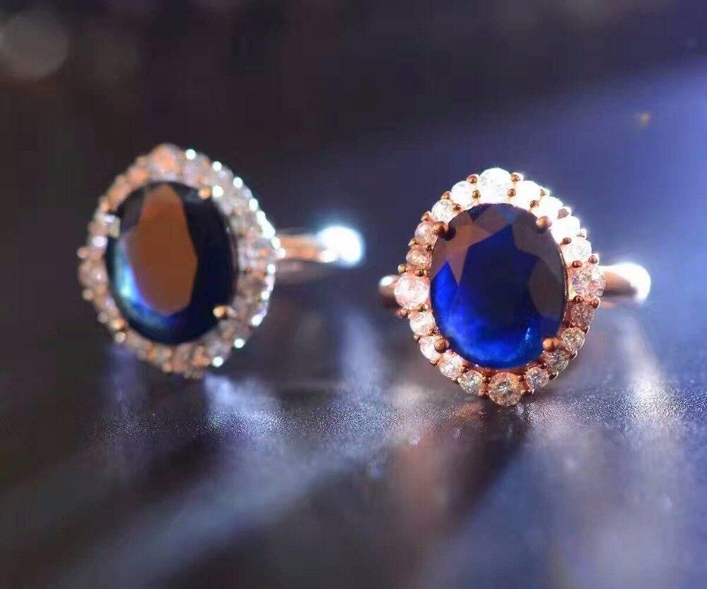 Elegancki pierścionek z szafirem 10*12mm naturalny czarny szafir z chińskiej szafirowej kopalni stałe 925 silvr sapphire kobieta wedding ring w Pierścionki od Biżuteria i akcesoria na  Grupa 3