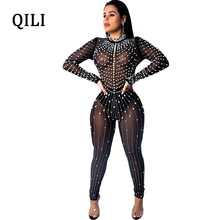 QILI Nightclub Diamonds Rhinestone Beading Jumpsuits Overall Women Sexy See Through Mesh Long Sleeve Skinny Zipper Jumpsuit Club