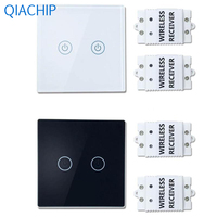 1pc Wall Light Touch Switch 2 Gang 2 Way Wireless Remote Control Touch Switch Light Lamp