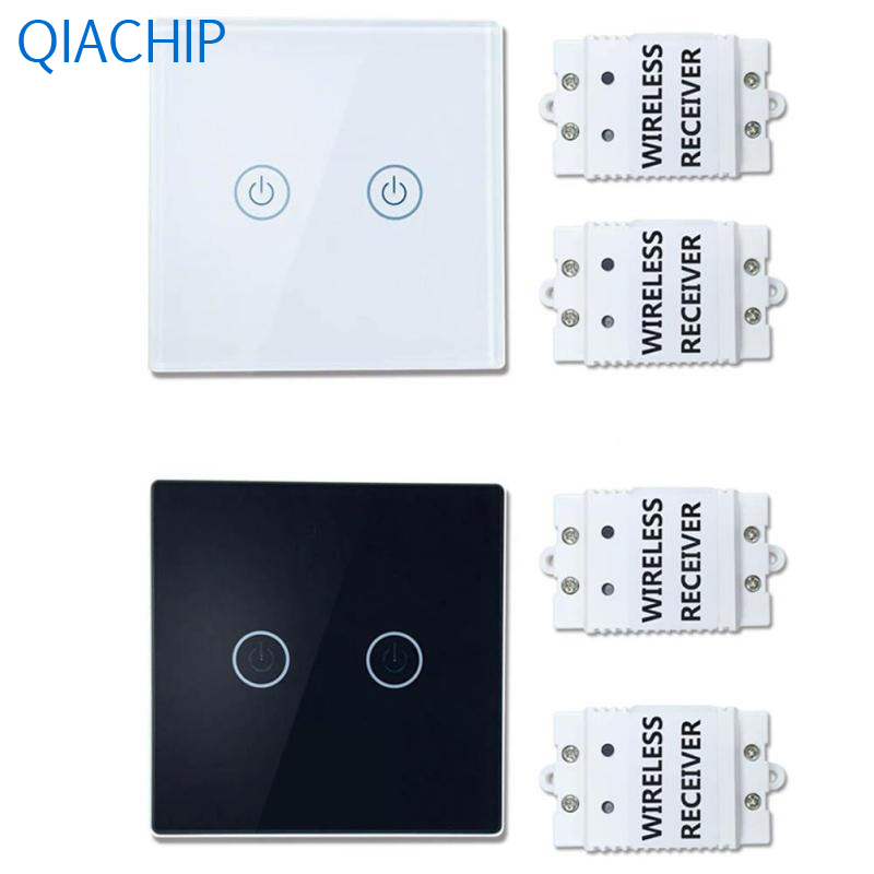 1pc Wall Light Touch Switch 2 gang 2 Way Wireless Remote Control Touch Switch Light Lamp Luxury Crystal Glass Panel Wall Switch white 1 gang 1 way led crystal glass panel light touch screen remote switch for light with wireless remote control 110v 220v