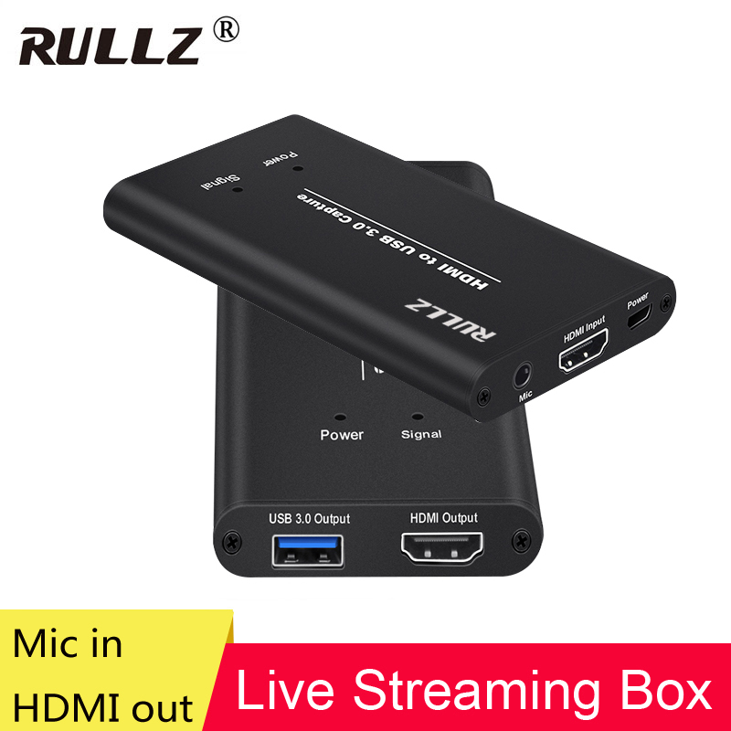 1080P 60fps Full HD Video Recorder Mic HDMI To USB 3.0 Video Capture Card Device For Mac Windows Linux OBS Vmix Live Streaming
