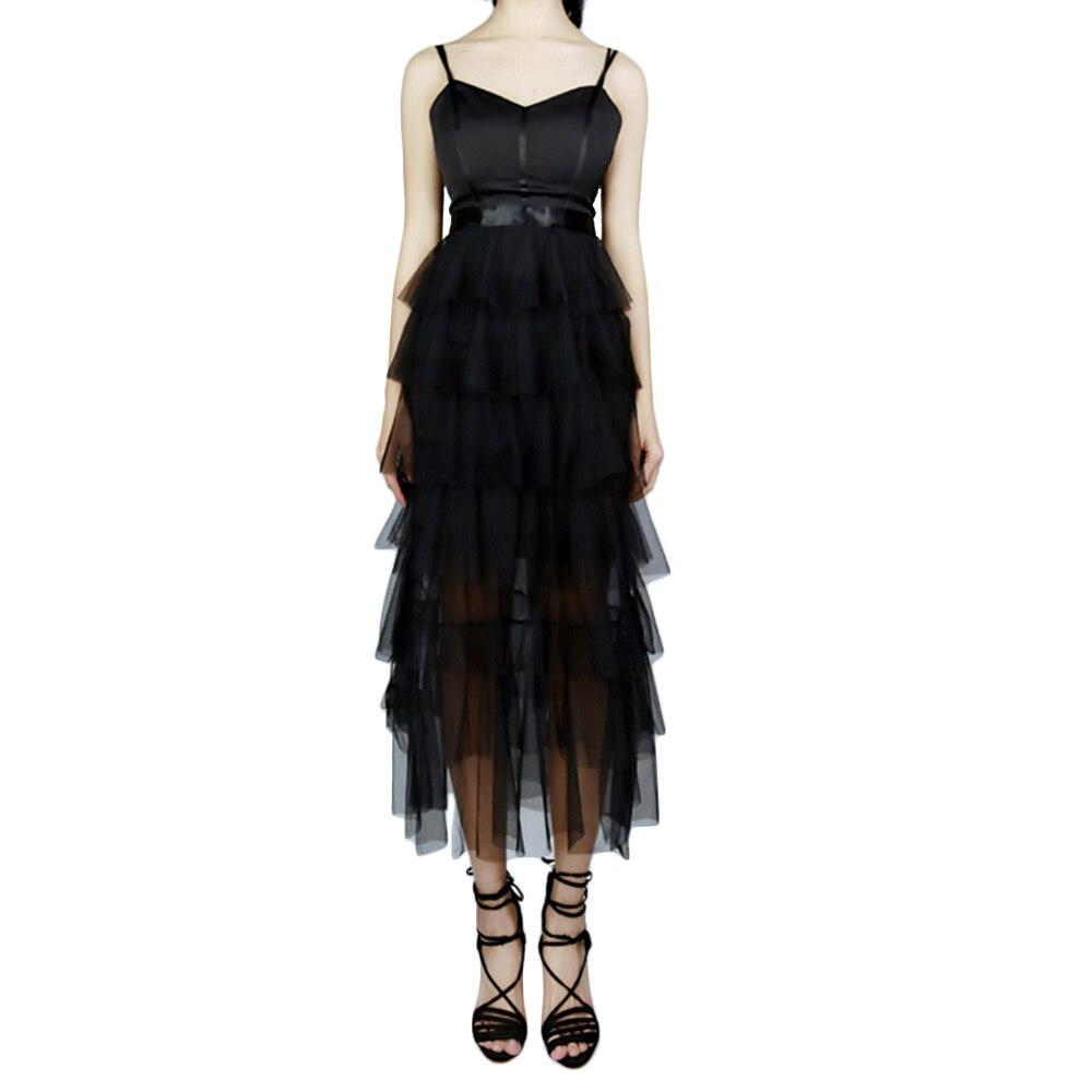 Moda Sexy vestidos de mujer negro espalda descubierta Spaghetti Strap vestidos largos señoras de corte bajo cuello en V vestidos de fiesta de verano nuevos Ins