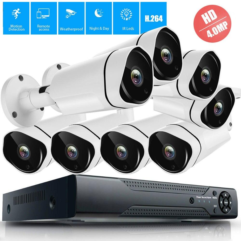 Système de caméra de sécurité, système domestique DVR 4MP, caméras de sécurité intérieures/extérieures 4MP, détection de mouvement, accès facile à distance pour Smartphone et PC