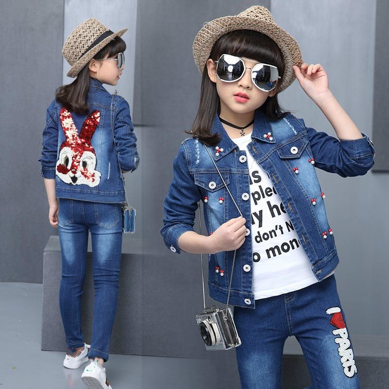 2pcs Girls Sport Suits 2018 New Cartoon Rabbit Demin Jacket+Pants Set for Girls Toddler Clothing Sets Girls Coat Suits цена