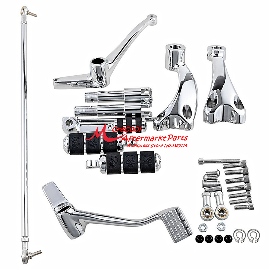 Chrome Forward Controls Pegs Levers Linkages For Harley Sportster 1200 Low 2007-2012 for harley sportster 883 1200 chrome forward controls kit pegs levers linkage