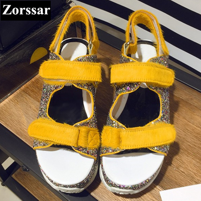 Summer Shoes Woman Casual platform sandals women peep toe High heels 2017 NEW Fashion Leather horse hair womens pumps shoes phyanic 2017 gladiator sandals gold silver shoes woman summer platform wedges glitters creepers casual women shoes phy3323