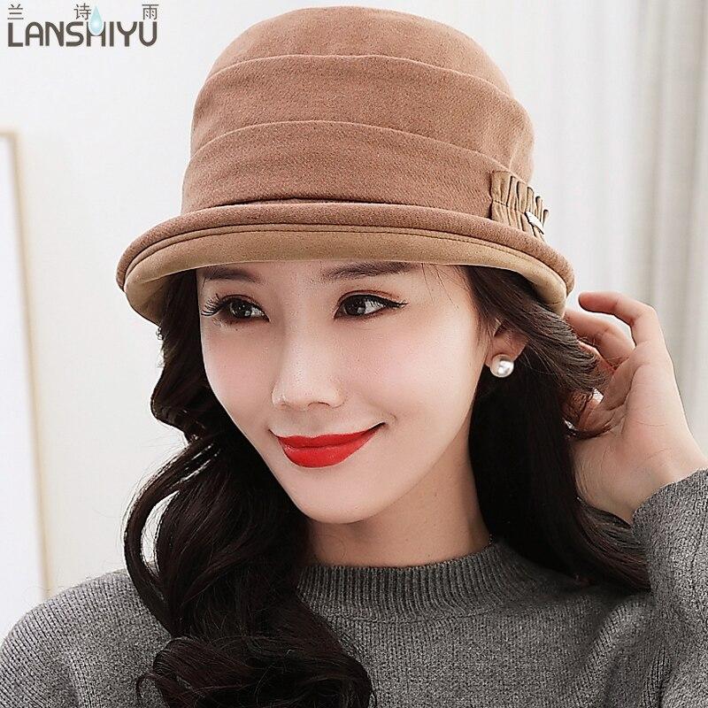 Women Bowler Winter Wool Warm Hat Fedora Cloche Round Cap 1920s Warm Bucket  Flower Vintage Fashion Autumn-in Fedoras from Apparel Accessories on ... 8314642cf185