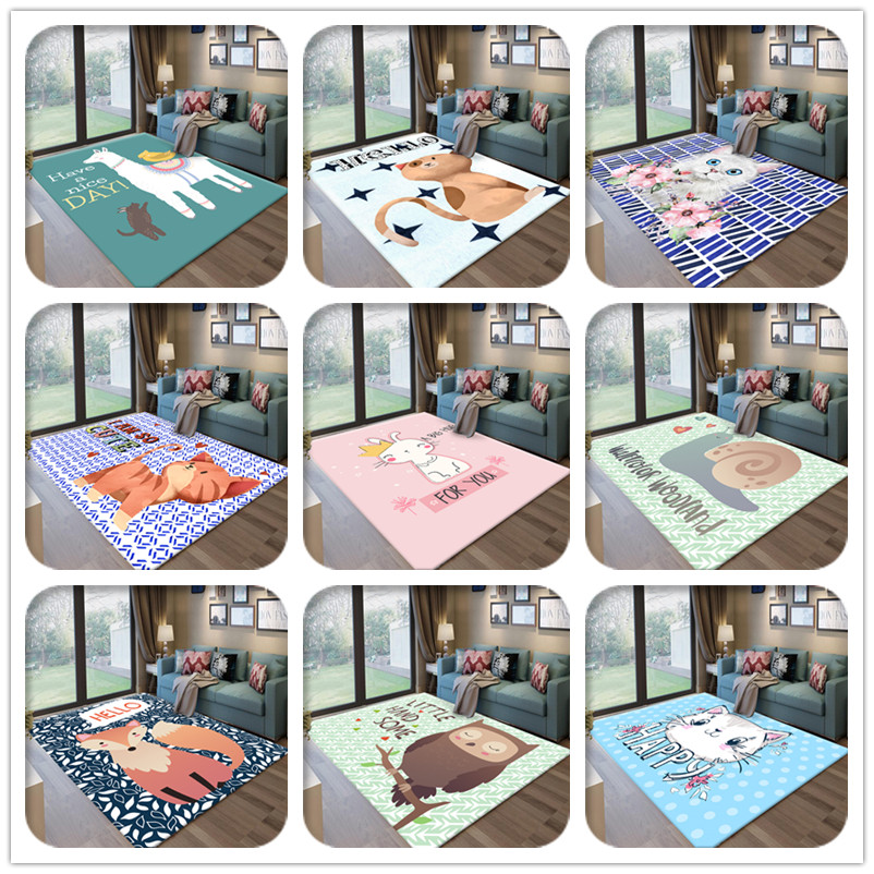 Modern Cartoon Animals Pattern Child Carpet Baby Game Rug Cat/Fox/Owl 3D Printed Soft Carpets Kids Play Crawl Antiskid Floor Mat