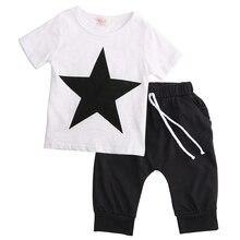 Kleinkind Kinder Baby Jungen clotheing Fashion Star T-shirt Tops Pluderhosen 2 stücke Outfits Sommer kind jungen Kleidung Set 2-7Y