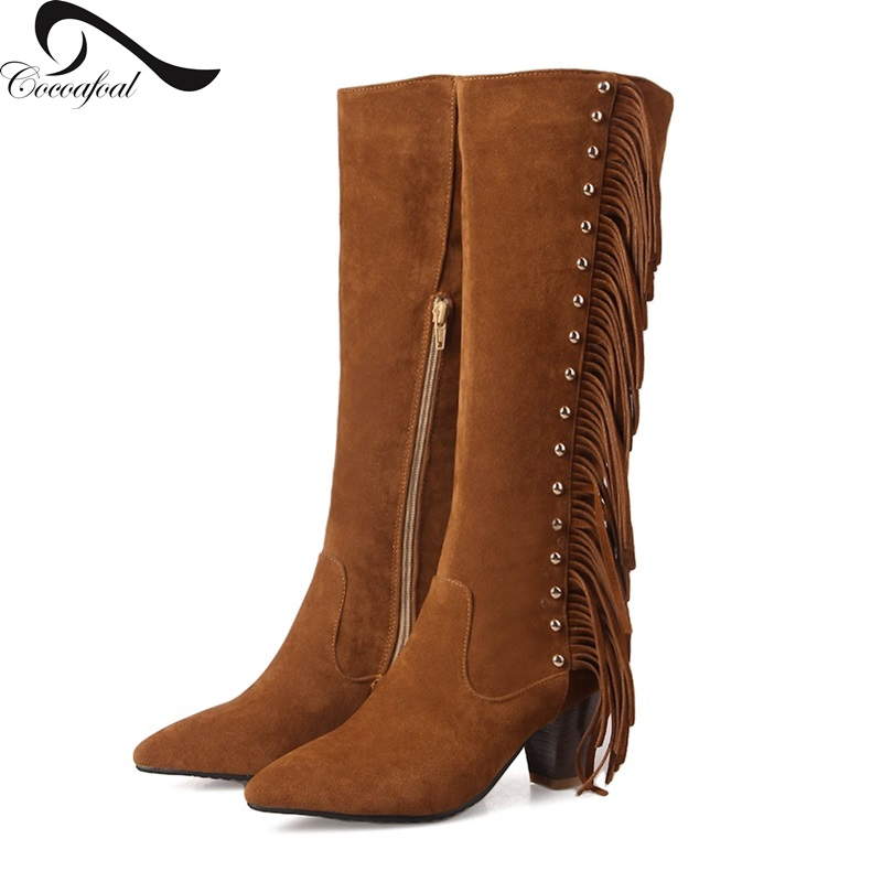ФОТО Flock national style 2017 Latest fashion Comfortable leg boots Simple Hot new Burst section tassel Wild models Woman boots