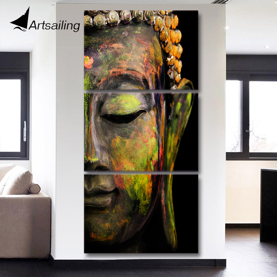 Artsailing wall art HD imprimir 3 unidades lienzo Buda pintura del arte de la pared imagen Modular para sala Buda lienzo