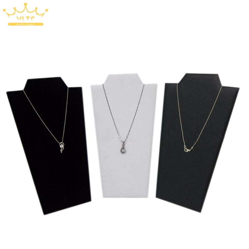 Free Shipping 3pcs/Lot Neck Easel White Black Leather Necklace Pendant Holder Jewelry Display Stand High Quality Best Selling