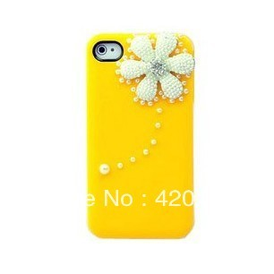New 3D Bling Crystal Rhinestone Pearl Daisy Flower Hard Back Cover Case for Apple iPhone 4 4S Yellow