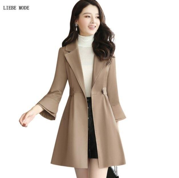 New Spring   Trench   Dress Women Fashion Elegant Slim Nine Quarter Sleeve A-line   Trench   Coat 2019 Long Overcoat Khaki Blue Red