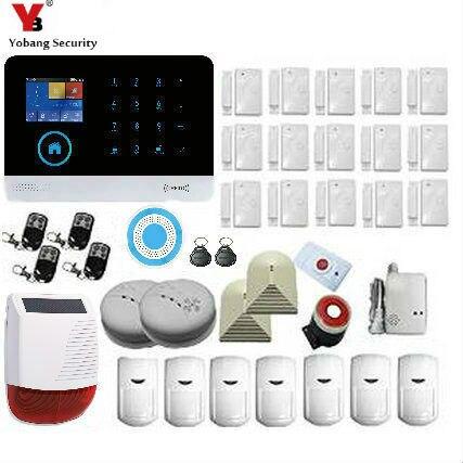 цена на Yobang Security APP Control Touch WIFI GSM SMS RFID Home Security Alarm System Gas Smoke Fire Sensor Detector Solar Power Siren
