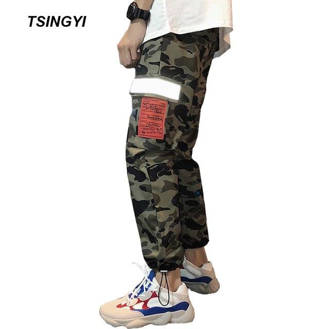 13e9484bf6ac Tsingyi 3M Reflective Camouflage Military Men Cargo Pants Spliced Hip Hop  Camo Multi Pockets Harem Pant Tactical Mens Joggers