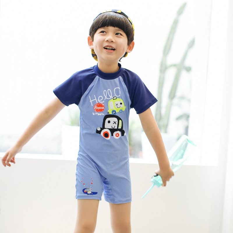 2018 Summer Boys Swimsuits One Piece Bathing Suit Beach Wear Diving Suits Rush Guard Infantil Baby Swimwear for Boys 2T-8 Years