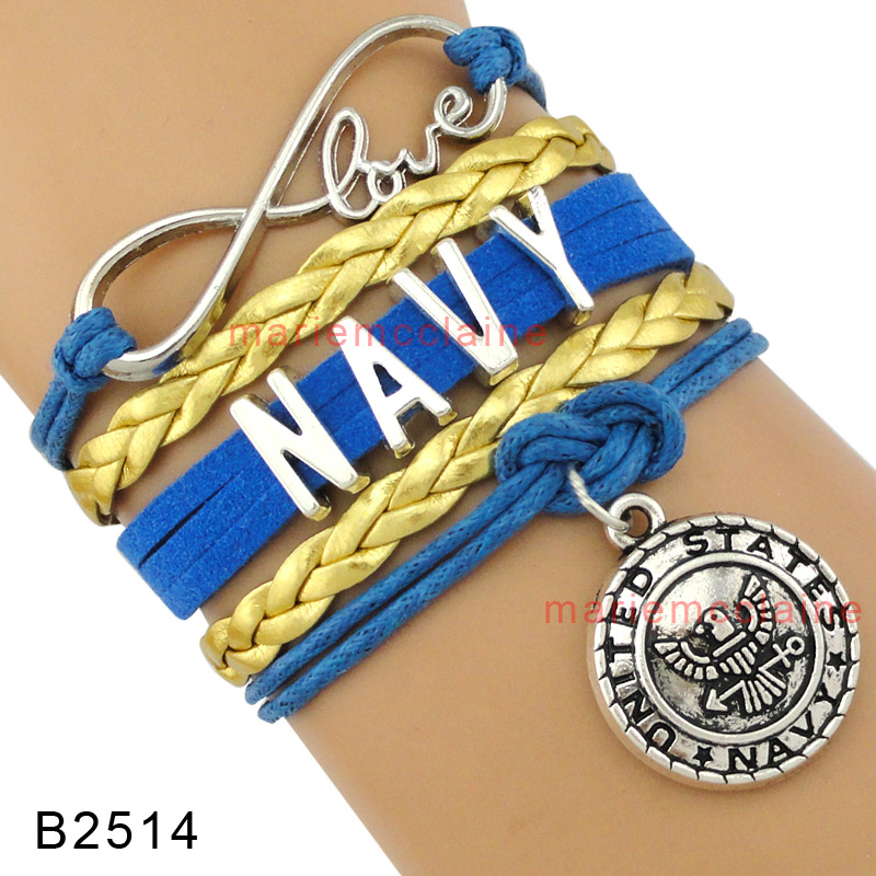 High Quality Infinity Love United States Navy Wife Mom Chief Charm Blue Gold Suede Braid Leather Men Bracelets for Women