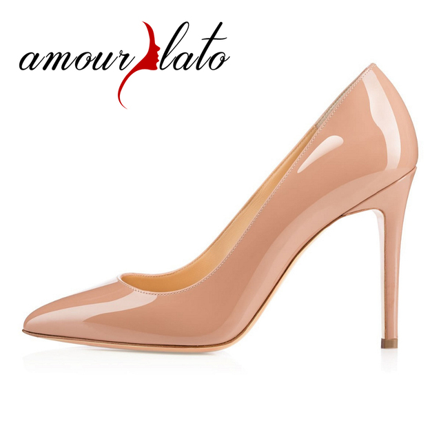 ffcdf06b7018 Amourplato Women s 10cm Heel Pointed Toe Stiletto Heel Classic Simple Pumps  Party Office Dress Solid Shoes Slip On Dress Pumps