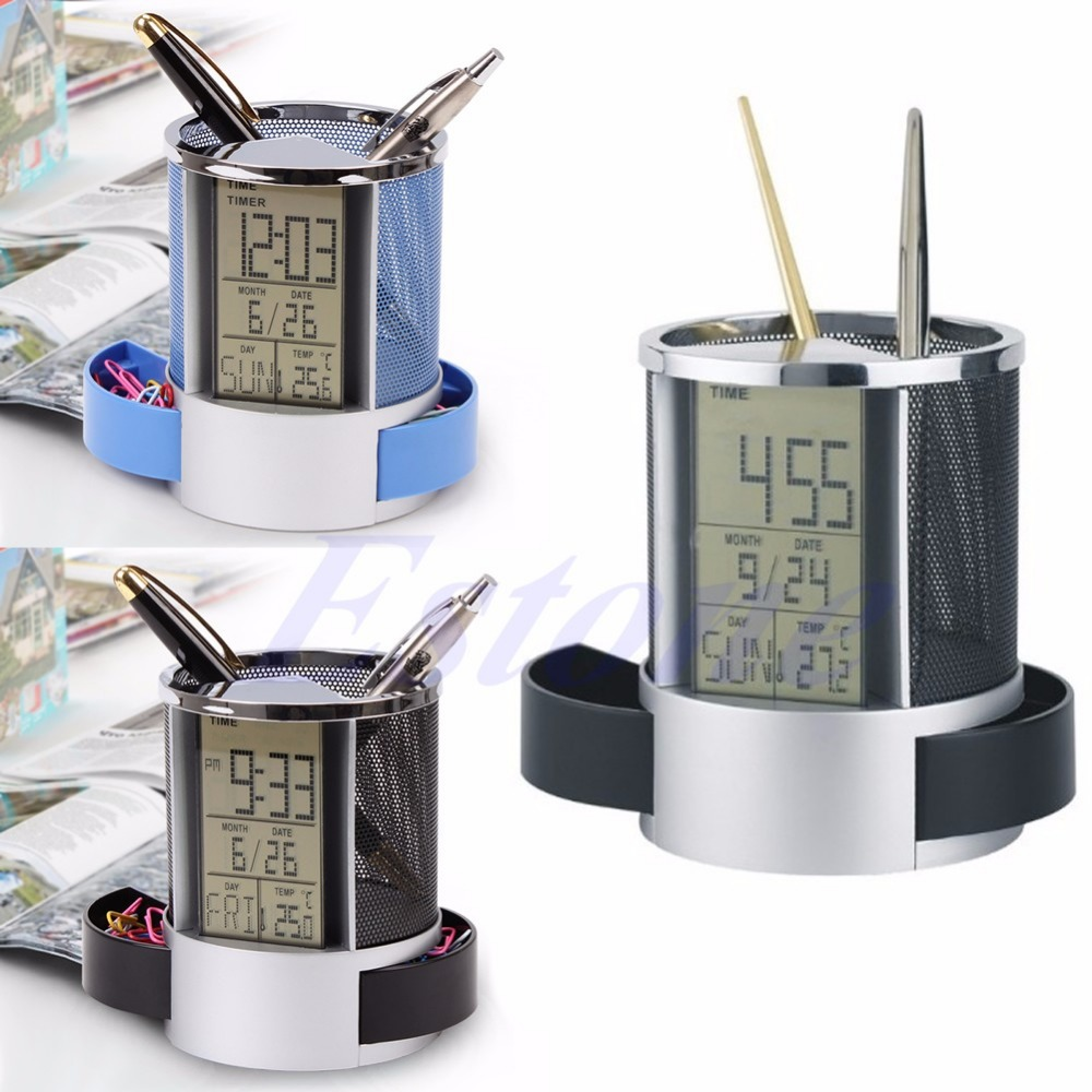 Mesh Pen Pencil Holder with Digital LCD Office Desk ALarm Clock with Time Temp Calendar function-PC Friend цена 2017