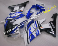 Hot Sales,For Yamaha YZF600 R6 fairings kit 2008 2016 blue black white YZF R6 08 16 motorcycle parts YZFR6 (Injection molding)