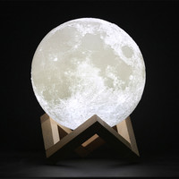 YIYANG 3D Print Moon Lamp 10cm Rechargeable 2 Colors PLA Touch Switch Bedroom Bookcase Night Light