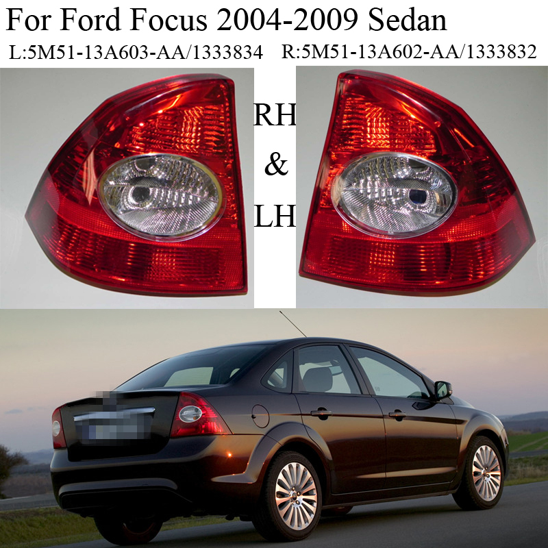 2pcs LH And RH Rear Tail Lamp Light Taillights Without bulbs For Ford Focus 2005-2009 Sedan 2pcs 95mm 15led white rear reversing trunk light waterproof round automobile tail trailer lights bulbs for ford focus lamp nat