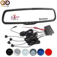 Car LED Rearview Rear View Blue Mirror Monitor With Reverse Radar Parking Sensor With Special Bracket