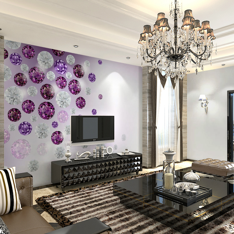 3d Photo Wall Mural Papel Wall paper 3d Murals 3d Stereo Purple Diamond Mural Wallpaper for TV Background Living Room custom 3d photo wallpaper mural nordic cartoon animals forests 3d background murals wall paper for chirdlen s room wall paper
