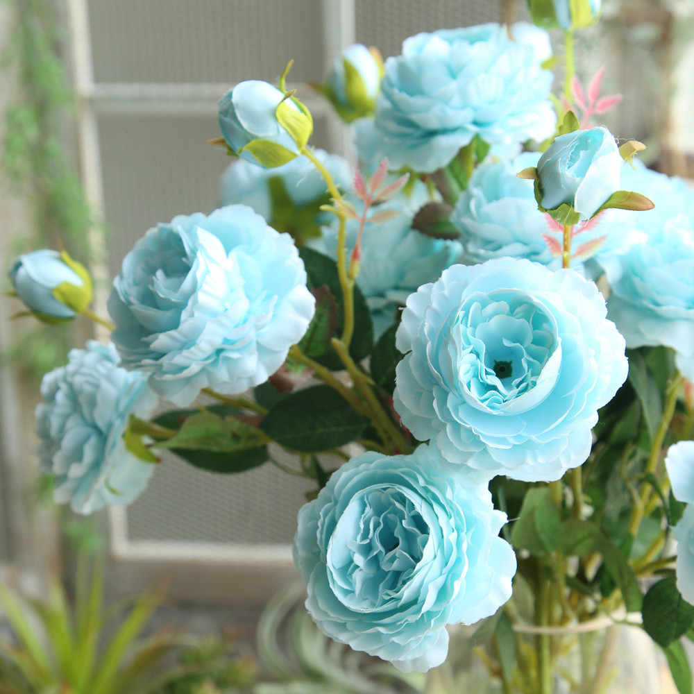 2019 Falso Artificial Ocidental Rose Flor Peônia De Noiva Bouquet Casamento Casa Decor Ocidental Subiu Peônia Artificial Flor azul